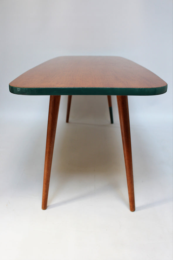Vintage Mid Century Modern Coffee Table with teal trim