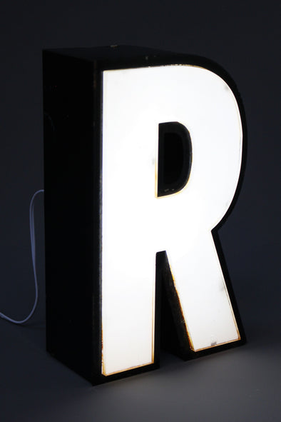 Vintage Industrial Shop Sign Letter Light R