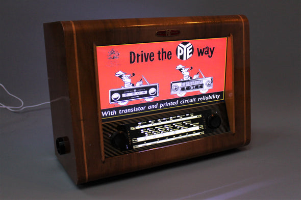 Vintage 1950s Cambridge PYE Radio converted to Lightbox