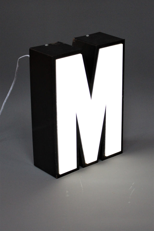 Vintage Industrial Shop Sign Green White letter light M