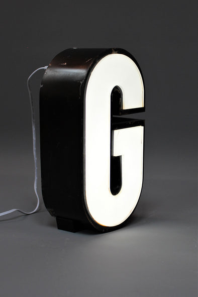 Vintage Industrial Shop Sign White letter light G