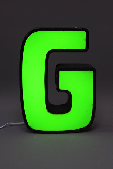 Vintage Industrial Shop Sign Green Letter Light G