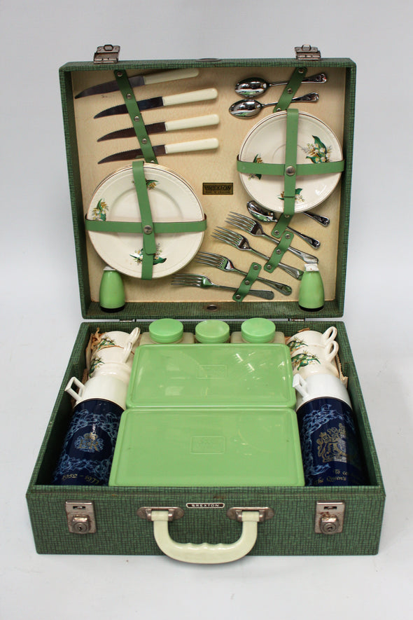 Original Vintage 1950s Brexton Picnic Set for Four in Hardcase