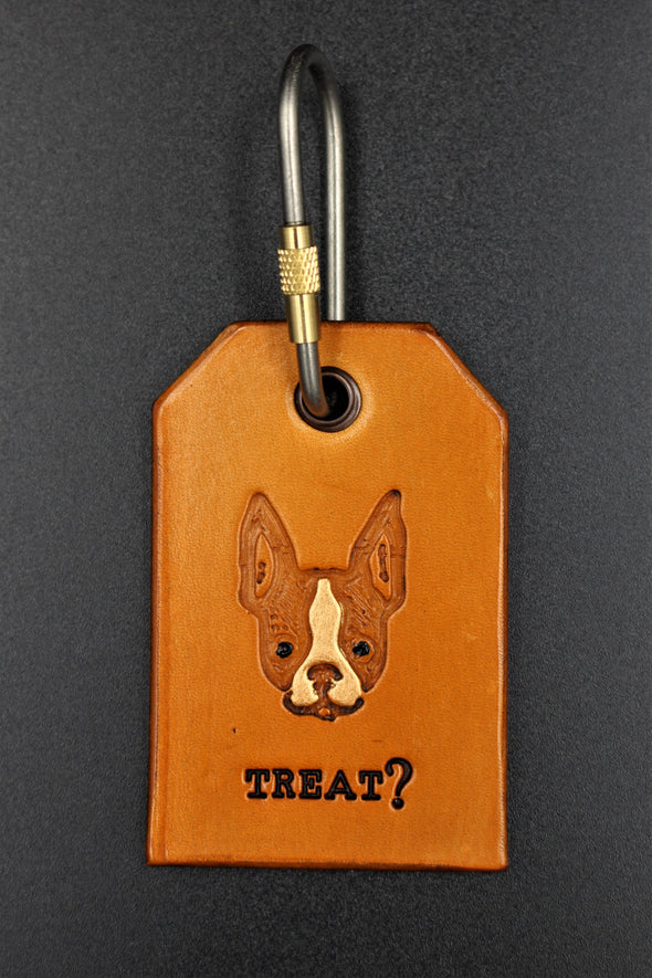 Handmade Leather Key Fob Key Ring French Bulldog Face