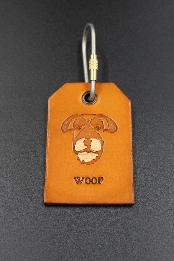 Handmade Leather Key Fob Key Ring Schnauzer Dog Face