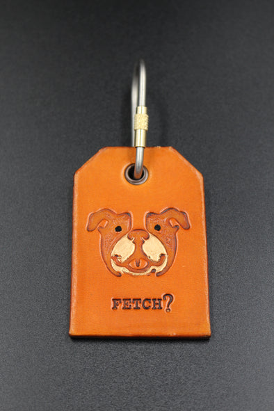 Handmade Leather Key Fob Key Ring English Bulldog Face
