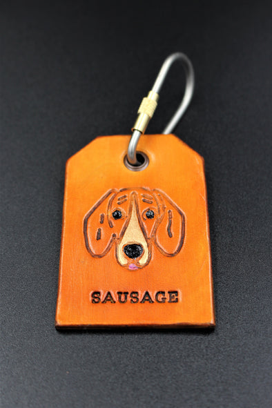 Handmade Leather Key Fob Key Ring Daschund Face