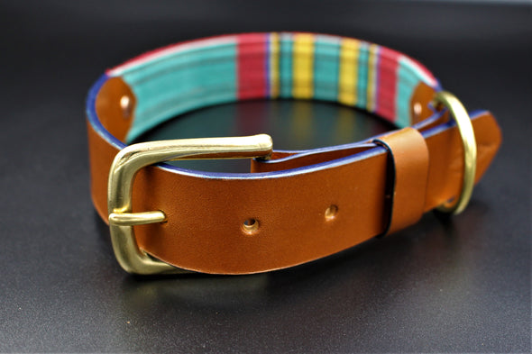 "Handmade Leather Dog Collar Large - London Deckchair Range ""Greenwich Park"""