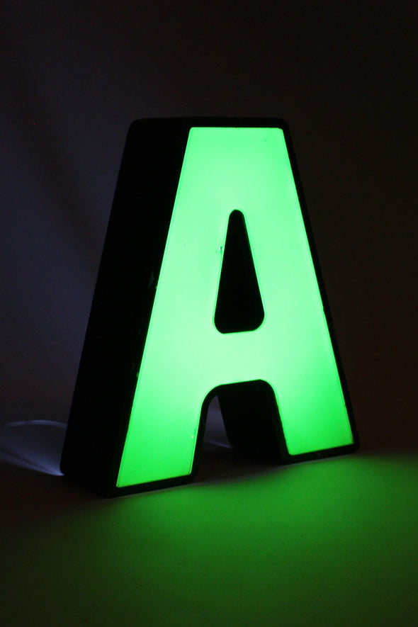 Vintage Industrial Shop Sign Green Letter Light A