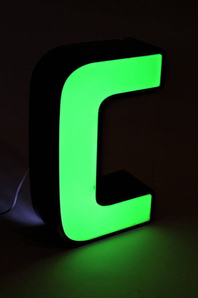 Vintage Industrial Shop Sign Green Letter Light C