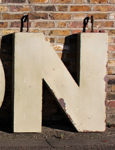 Extra Large Vintage Metal Industrial Shop Sign Letter N