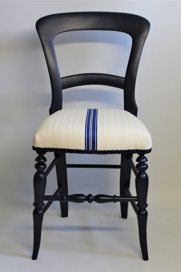 Victorian Mahogany Balloon Back Chair painted in Navy Blue