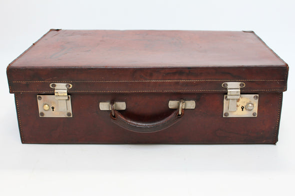 Vintage 1950s Leather Suitcase with brass fittings