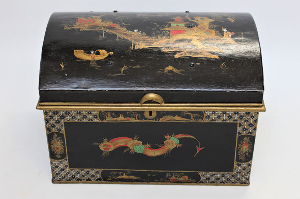 Vintage Black Chinoiserie Style Domed Metal Trunk