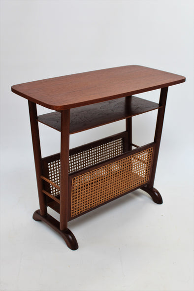 Vintage Danish Wood Magazine Rack and Side Table