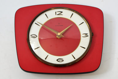 Vintage Mid Century Modern Junghans Wall Clock in red and gold