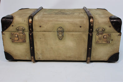 Vintage Standex Wood Banded Canvas Steamer Trunk