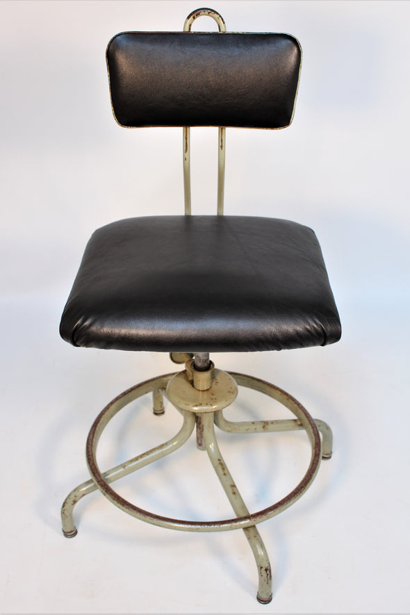 Vintage Industiral 1950s Machinist Factory Chair in Genuine Leather