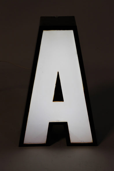 Vintage Industrial Shop Sign White Letter Light A