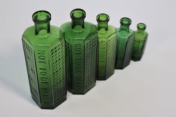Lovely Set of 5 Vintage Hobnail Glass Poison Bottles 1900s