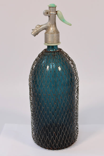 Vintage Soda Syphon Bottle Seltzer Blue with Wire Mesh