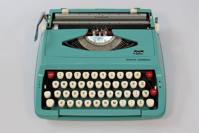Vintage Smith Corona Portable Typewriter Blue Turquoise
