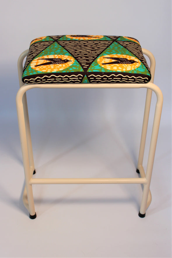 1950s Pair Of Vintage Industrial Stools With Beautiful African Fabric