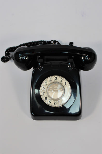 Vintage 1960s Black GPO 706L Rotary Dial Telephone