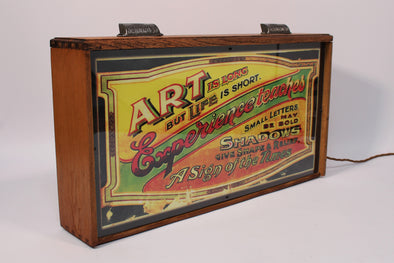 Vintage Drawer Lightbox with 1930s Signwriting Typography Artwork