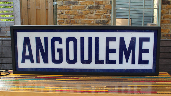 Large Illuminated French Vintage Train Station Sign Lightbox Angouleme