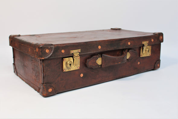 Beautiful Vintage 1950s Full Leather Suitcase with brass fittings copper rivets