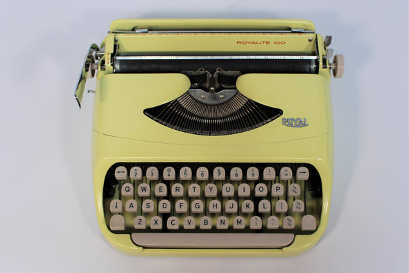 Vintage 1970s Yellow Royal Royalite 100 Typewriter in full working order