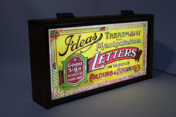 Vintage Drawer Lightbox with 1930s Signwriting Typography Artwork 'Letters'
