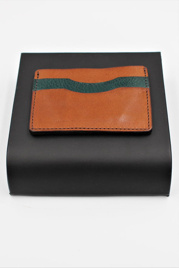 Minimalist Card Holder Full Leather in Brown and Teal  Handcrafted - Personalisation Option