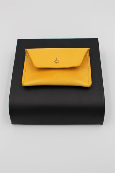 Handmade Italian Leather Coin Purse Card Holder Vivid Yellow - Personalised