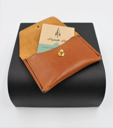 Handmade Italian Leather Coin Purse Card Holder Rich Cognac Brown - Personalised