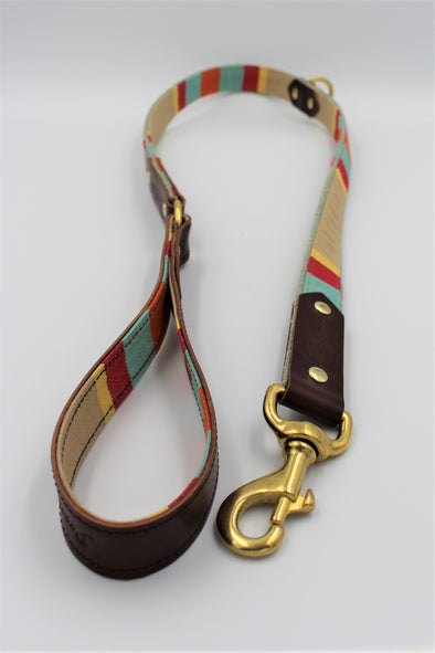 "Handmade Leather Dog Lead Small / Medium ""Green Park"""