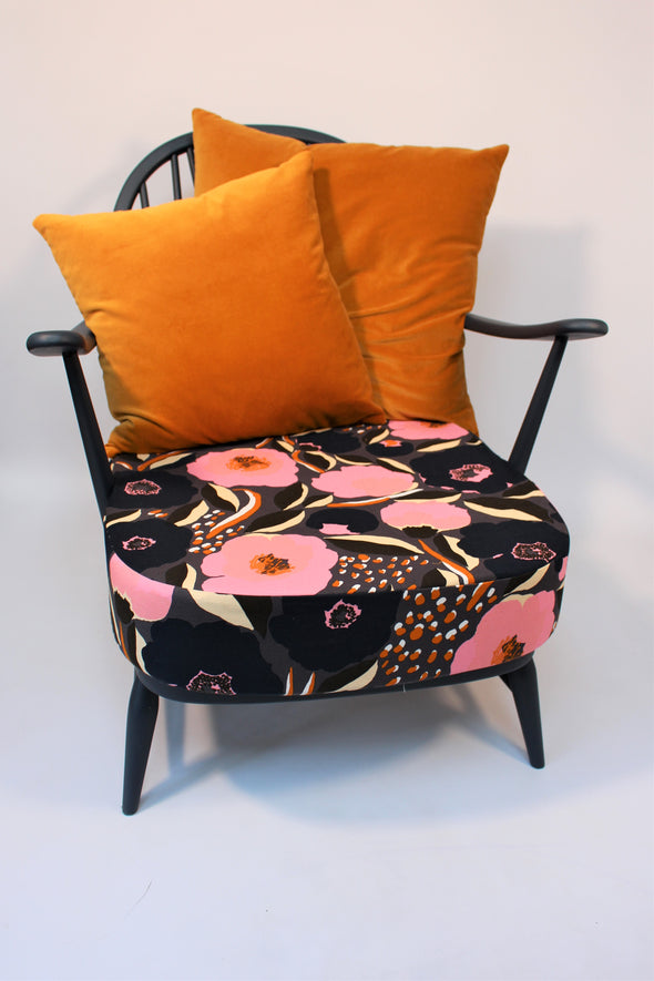 Vintage Ercol Windsor 203 Mid Century Modern Armchair fully refurbished in Marimekko fabric