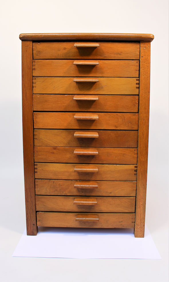 Vintage 1950s Shop Haberdashery Drawers Wood Cabinet