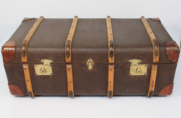 1950s Vintage Wood Banded Hardboard Leather Travel Steamer Trunk