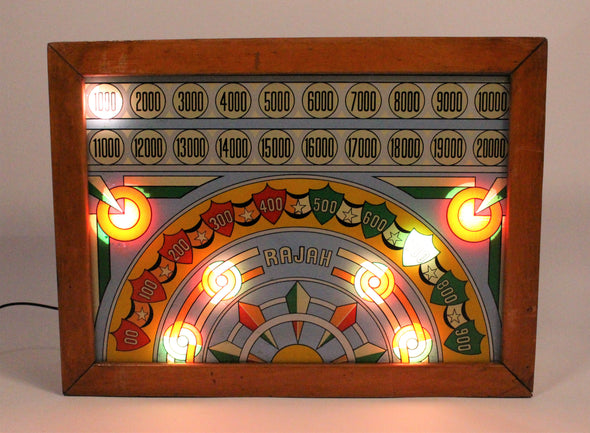 Vintage 1930s Rajah Pinball Machine Backglass Lightbox