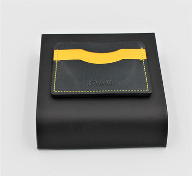 Minimalist Card Holder Full Leather Handcrafted in Navy Blue and Yellow - Personalisation Option