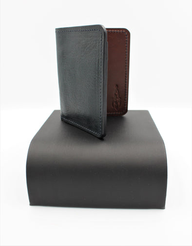Beautiful Leather Vertical Bifold Wallet Card Holder in Deep Navy and Chestnut Coloured Leather - Personalisation Option