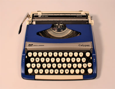 Vintage Retro Smith Corona Calypso Typewriter in Royal Blue in full working condition