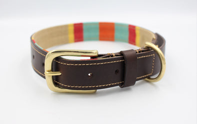 Personalised Leather Dog Collar Handmade Green Park