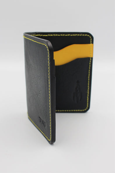 Beautiful Leather Vertical Bifold Wallet Card Holder Navy Blue & Yellow Italian Leather - Personalisation Option