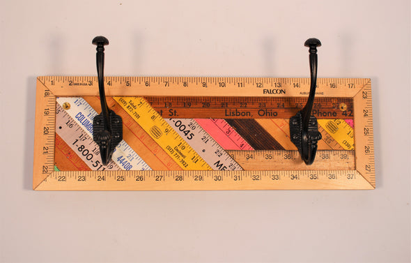 Yardstick Ruler Double Coat Hook Rack