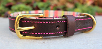 Personalised Leather Dog Collar Pink and Grey Handmade