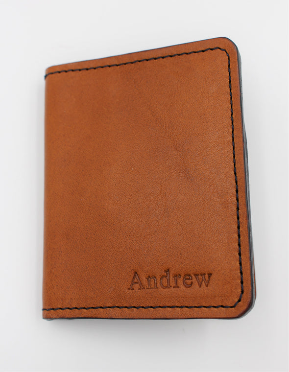 Lovely Leather Bifold Wallet Card Holder in Tan Italian Leather - Personalisation Option