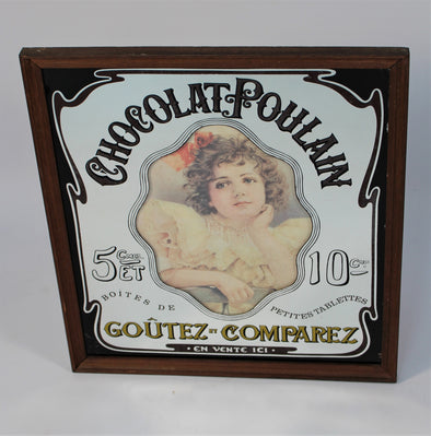 Vintage French Advertising Sign Mirror - Chocolat Poulain 1970s